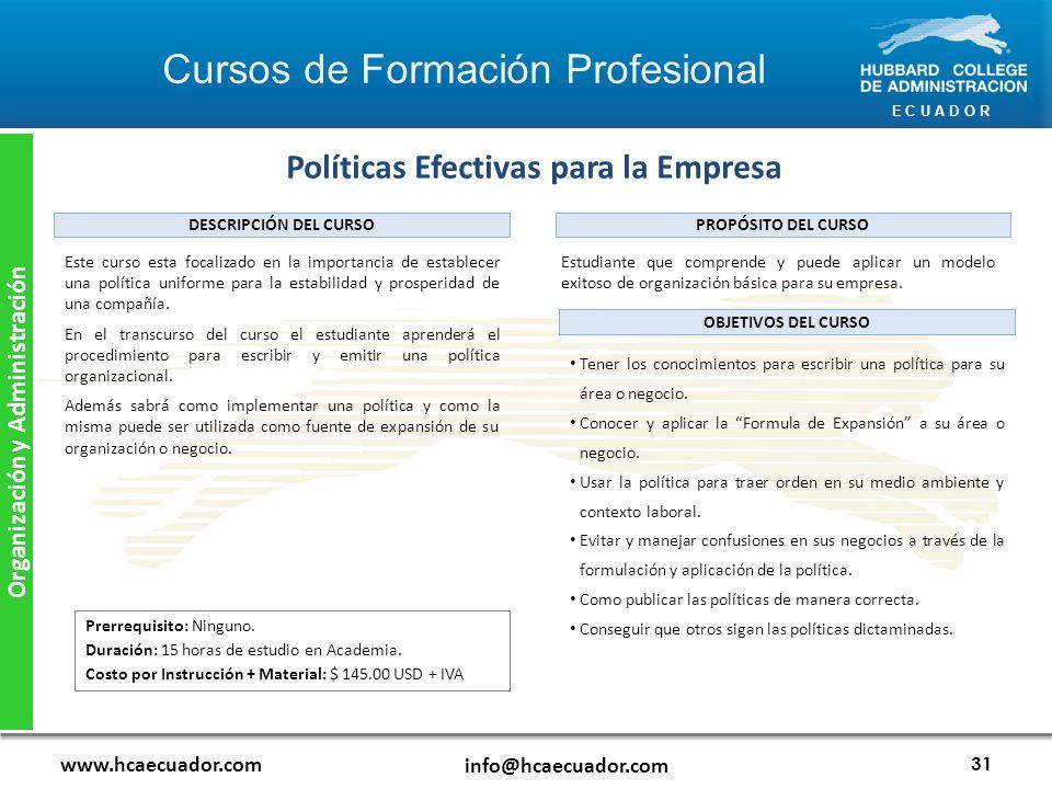 Políticas Efectivas para la Empresa Organización y Administración