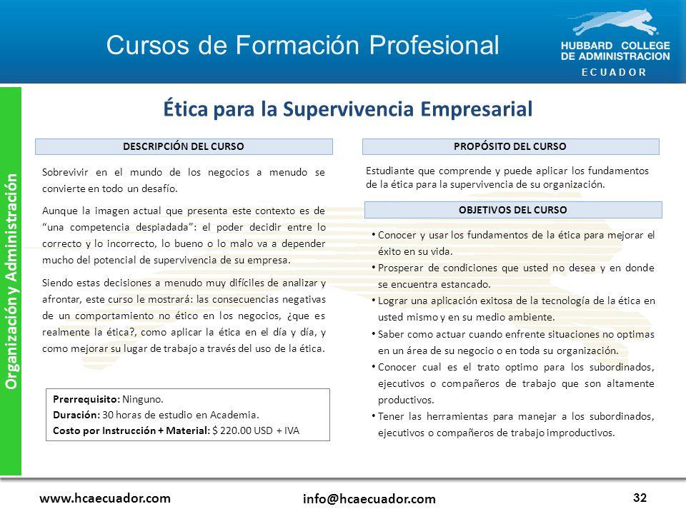 Ética para la Supervivencia Empresarial Organización y Administración