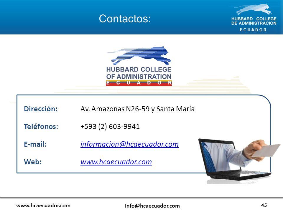 Contactos: Dirección: Av. Amazonas N26-59 y Santa María