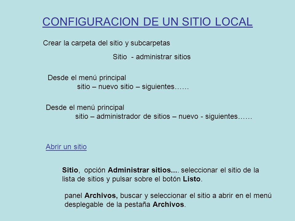 CONFIGURACION DE UN SITIO LOCAL