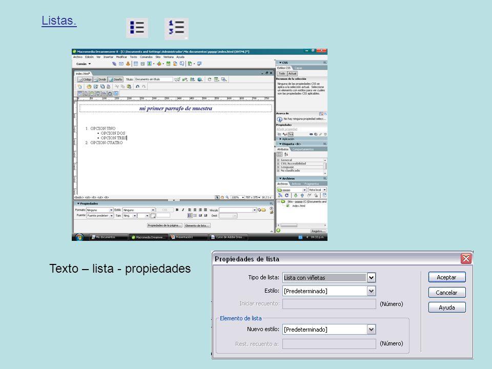 Listas. Texto – lista - propiedades