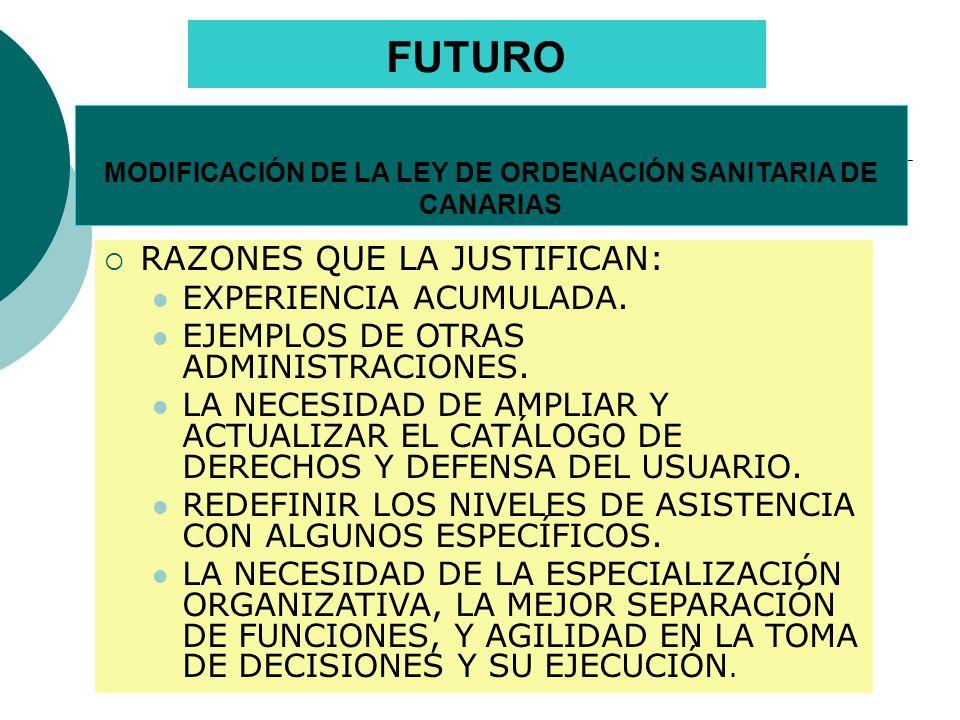 MODIFICACIÓN DE LA LEY DE ORDENACIÓN SANITARIA DE CANARIAS