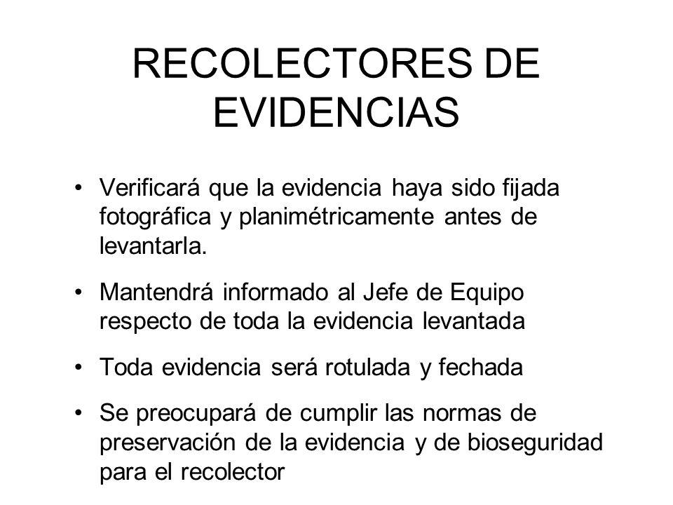 RECOLECTORES DE EVIDENCIAS