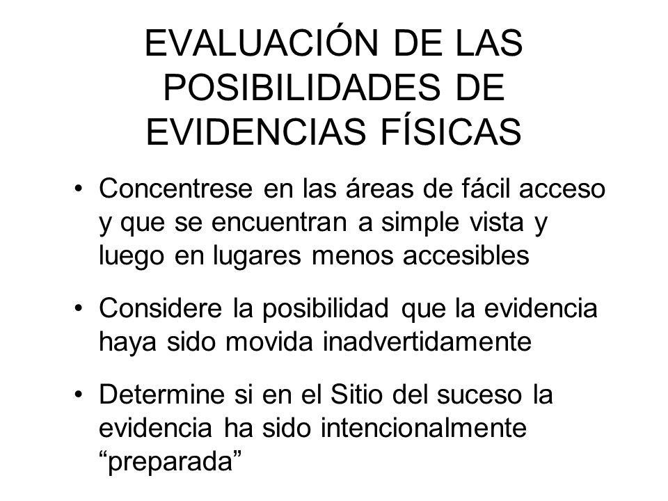 EVALUACIÓN DE LAS POSIBILIDADES DE EVIDENCIAS FÍSICAS