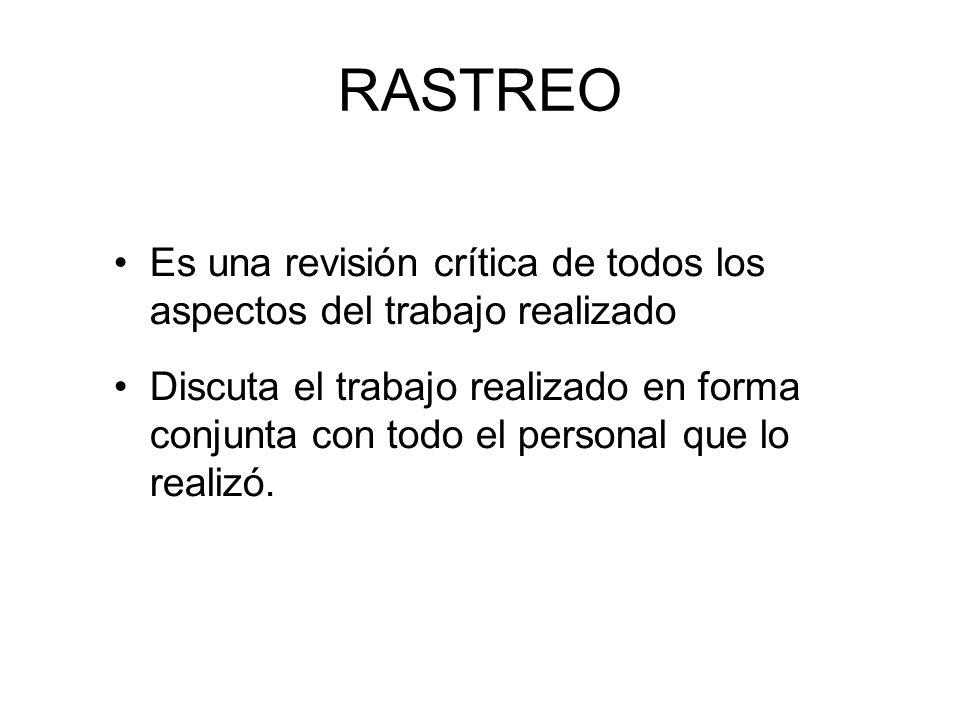 RASTREO Es una revisión crítica de todos los aspectos del trabajo realizado.