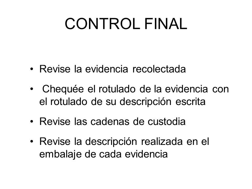 CONTROL FINAL Revise la evidencia recolectada