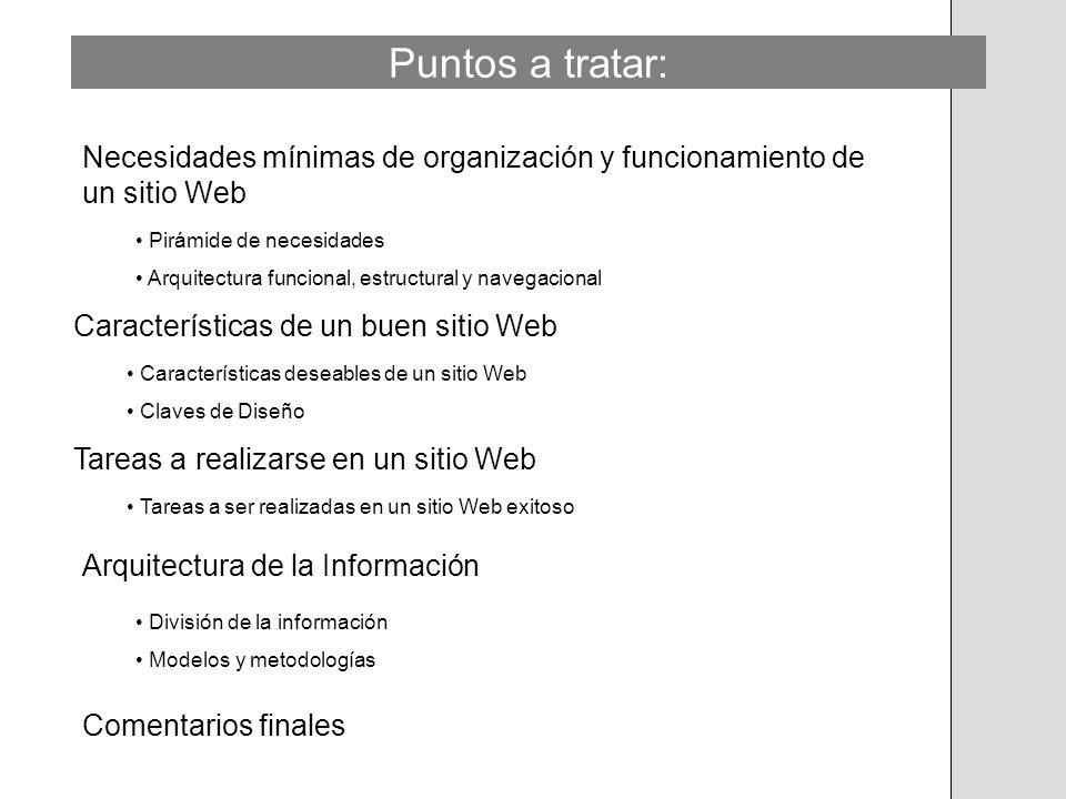 Puntos a tratar: Necesidades mínimas de organización y funcionamiento de un sitio Web. Pirámide de necesidades.
