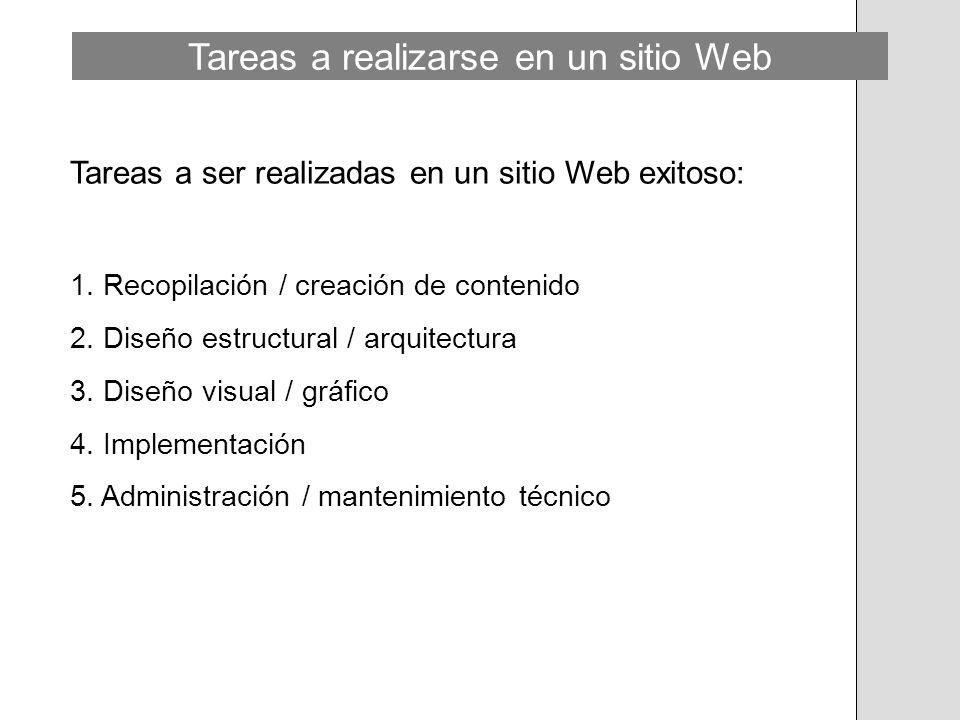 Tareas a realizarse en un sitio Web