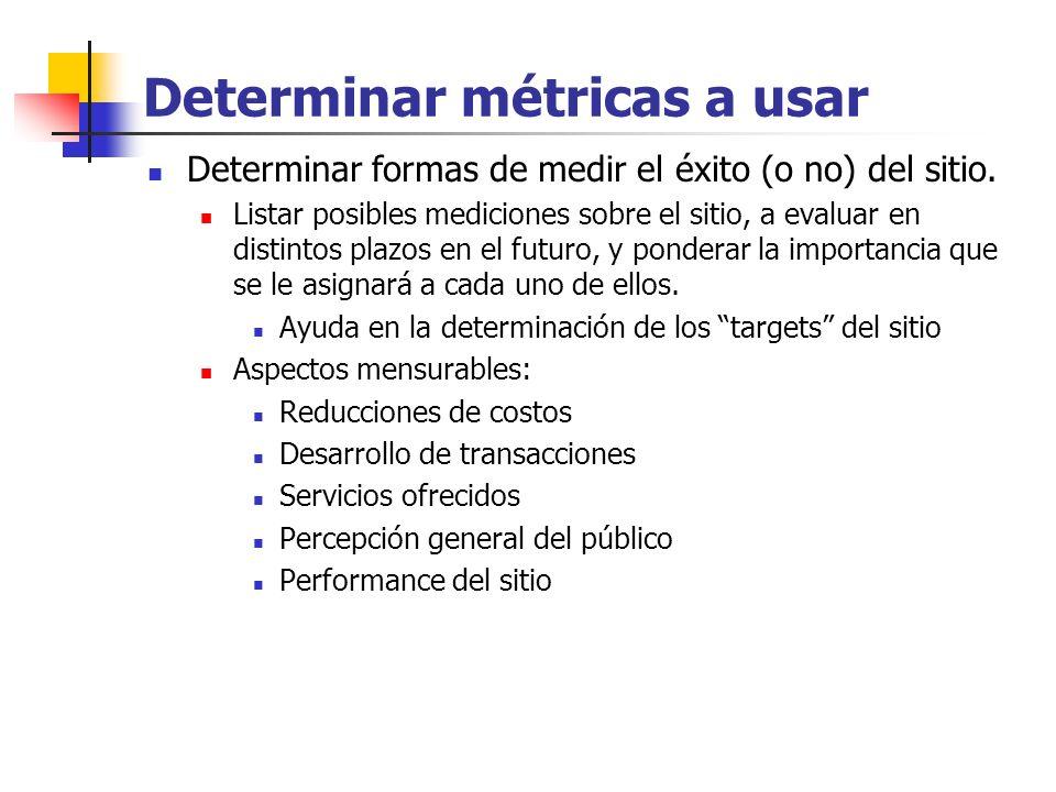 Determinar métricas a usar