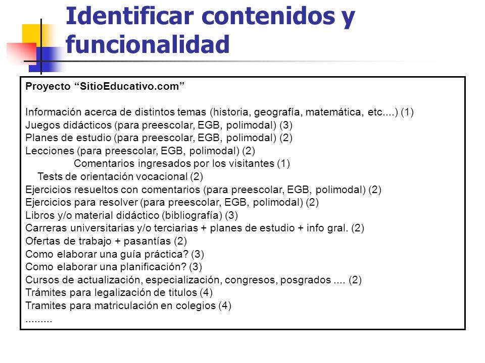 Identificar contenidos y funcionalidad
