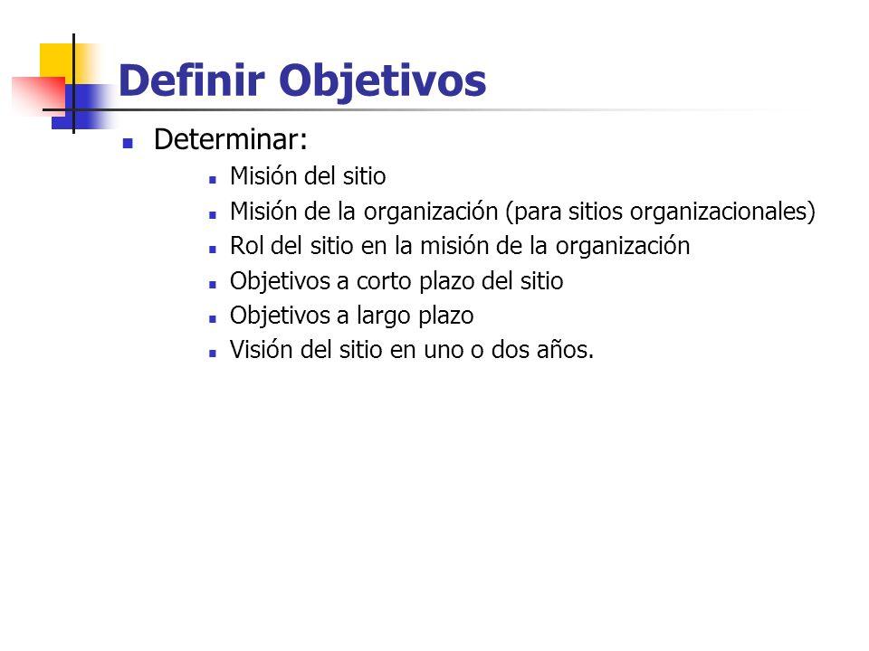 Definir Objetivos Determinar: Misión del sitio
