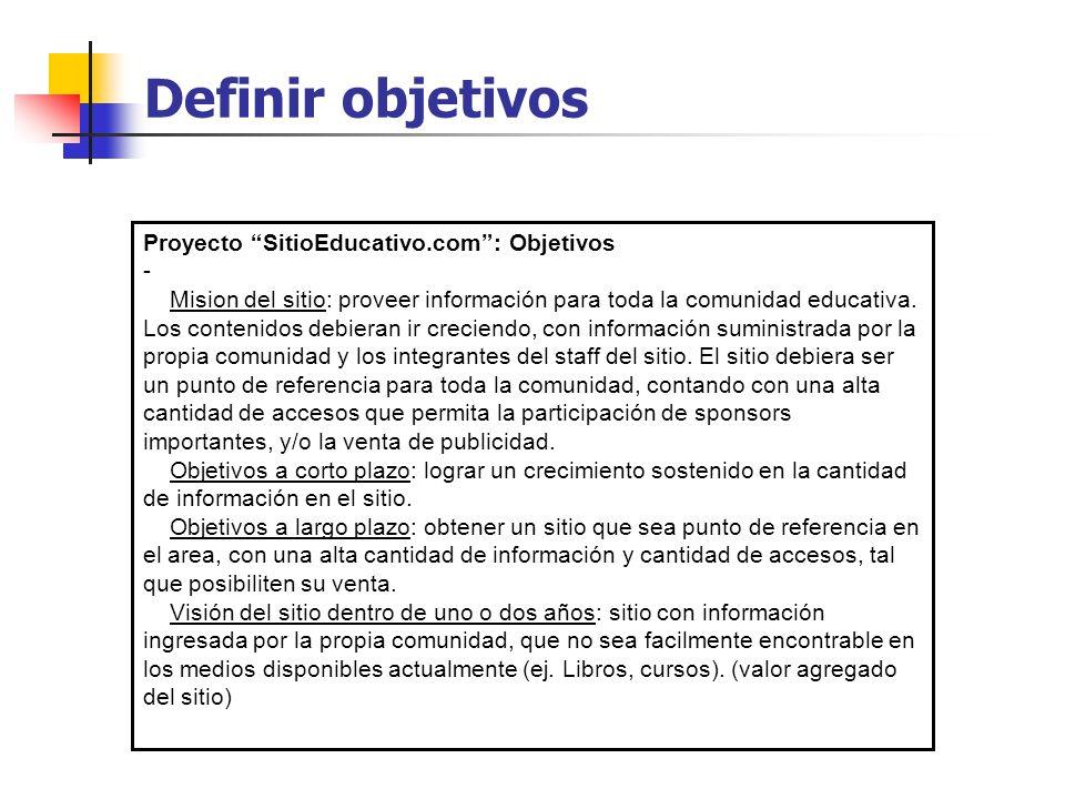 Definir objetivos Proyecto SitioEducativo.com : Objetivos -