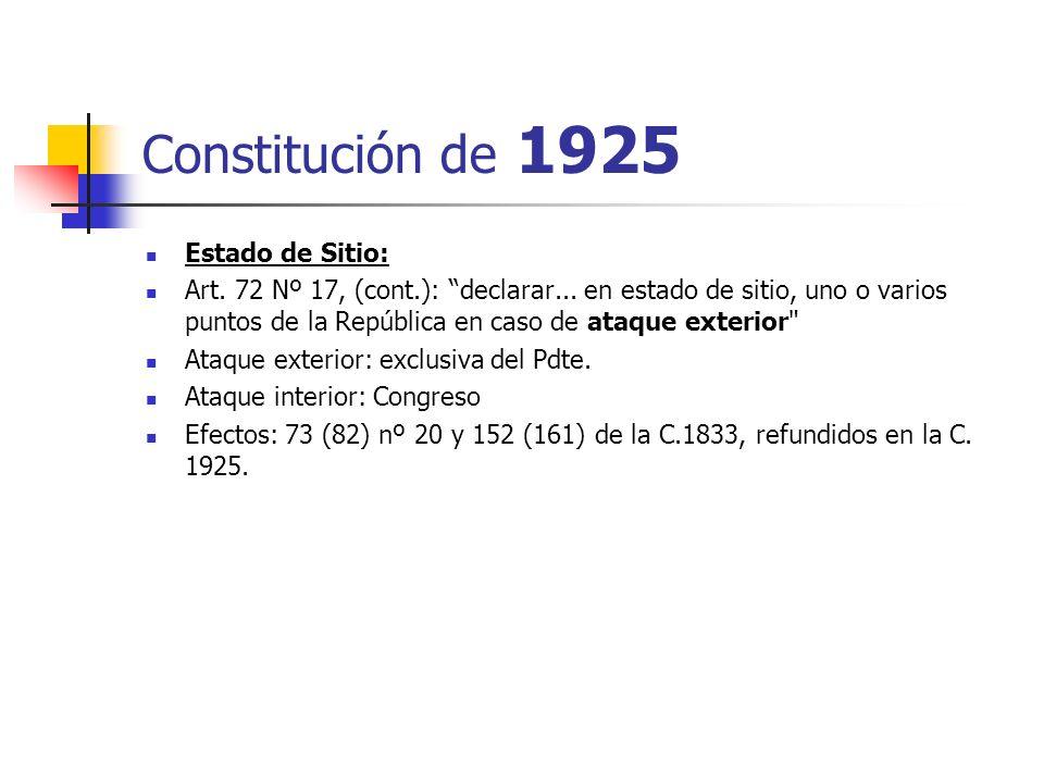 Constitución de 1925 Estado de Sitio: