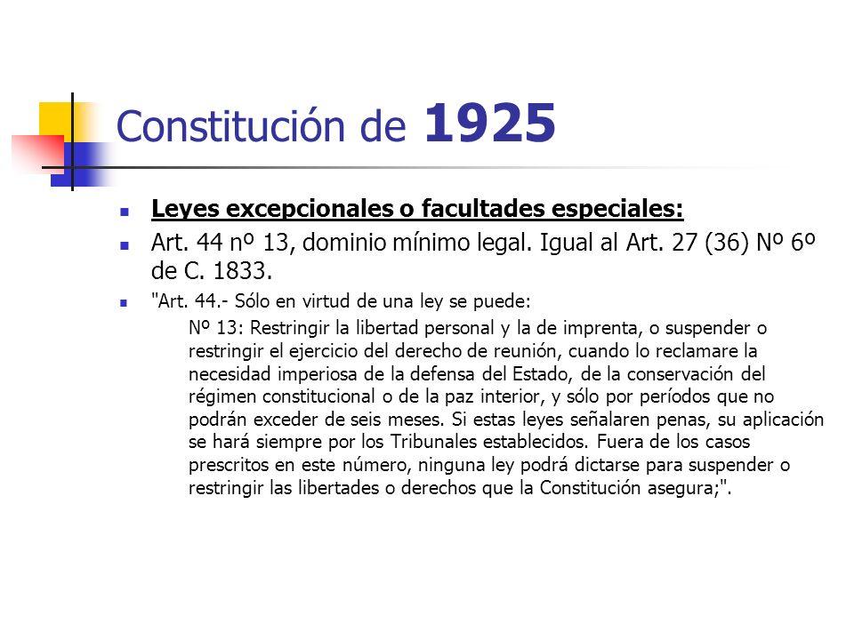 Constitución de 1925 Leyes excepcionales o facultades especiales: