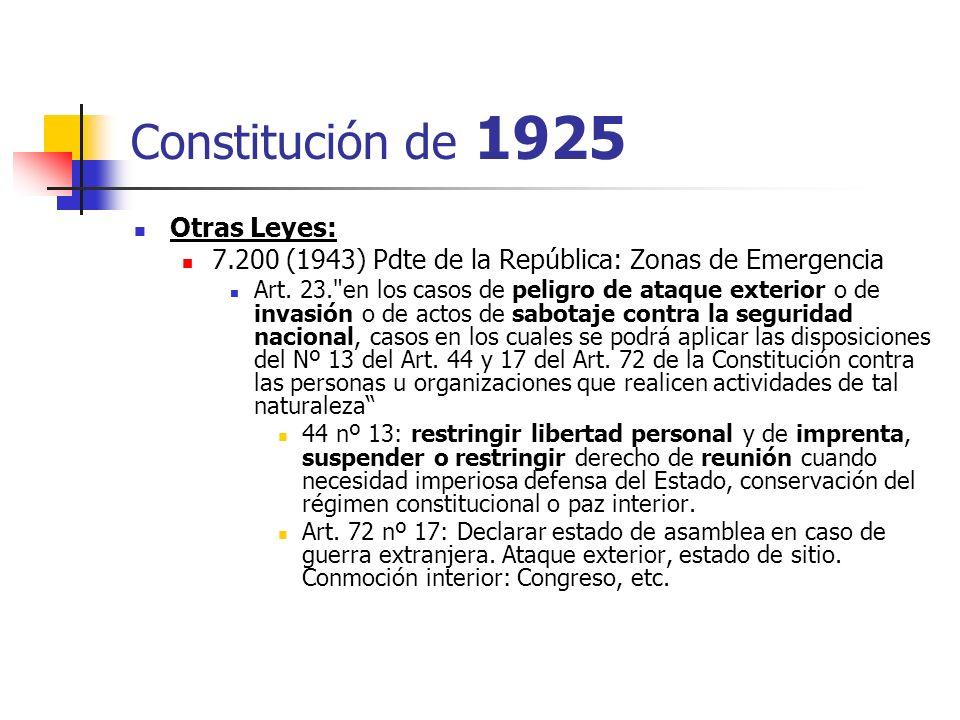 Constitución de 1925 Otras Leyes: