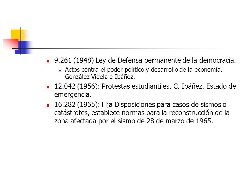 9.261 (1948) Ley de Defensa permanente de la democracia.