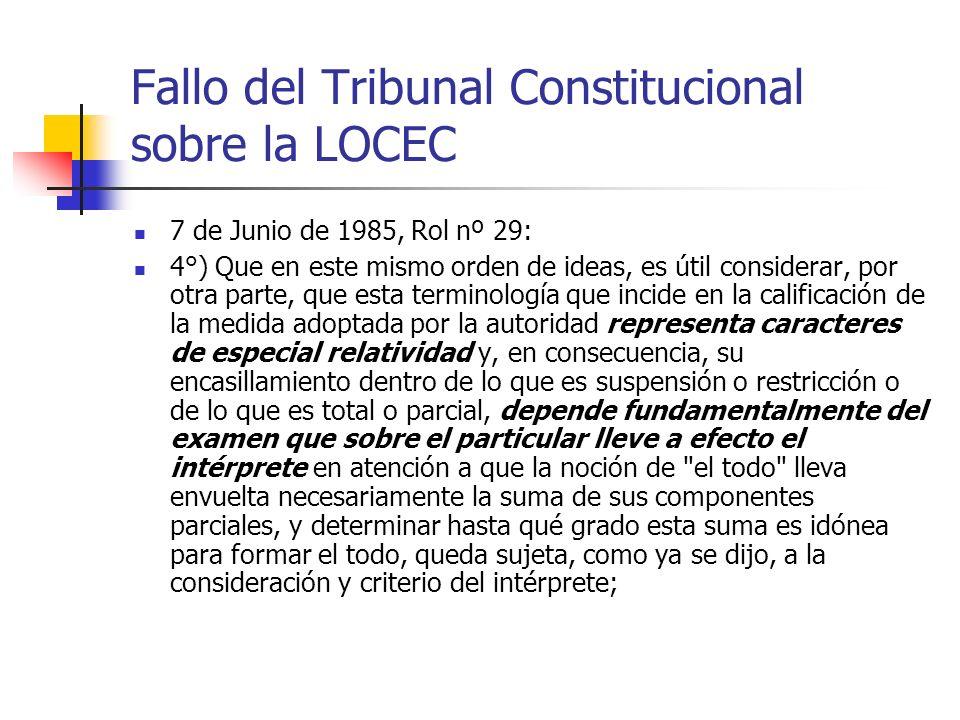 Fallo del Tribunal Constitucional sobre la LOCEC