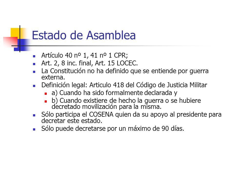Estado de Asamblea Artículo 40 nº 1, 41 nº 1 CPR;