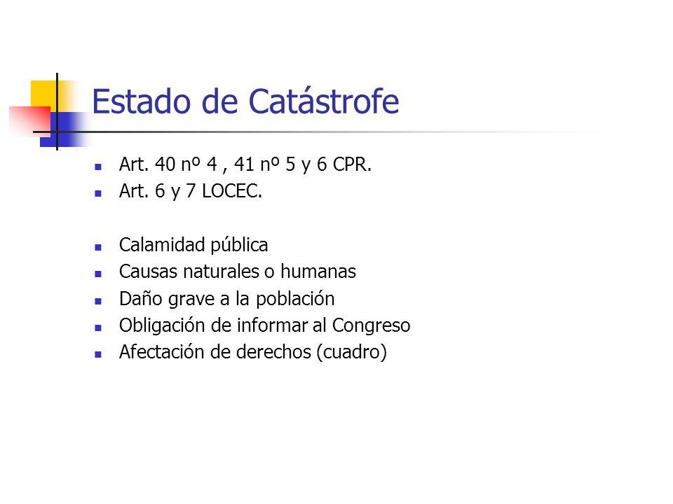Estado de Catástrofe Art. 40 nº 4 , 41 nº 5 y 6 CPR. Art. 6 y 7 LOCEC.
