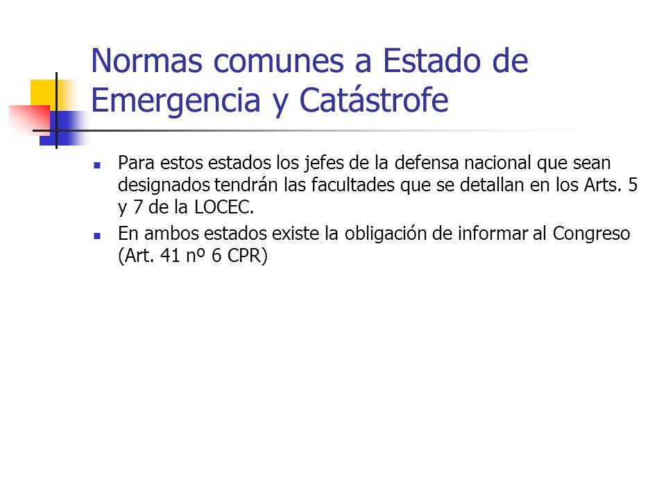 Normas comunes a Estado de Emergencia y Catástrofe