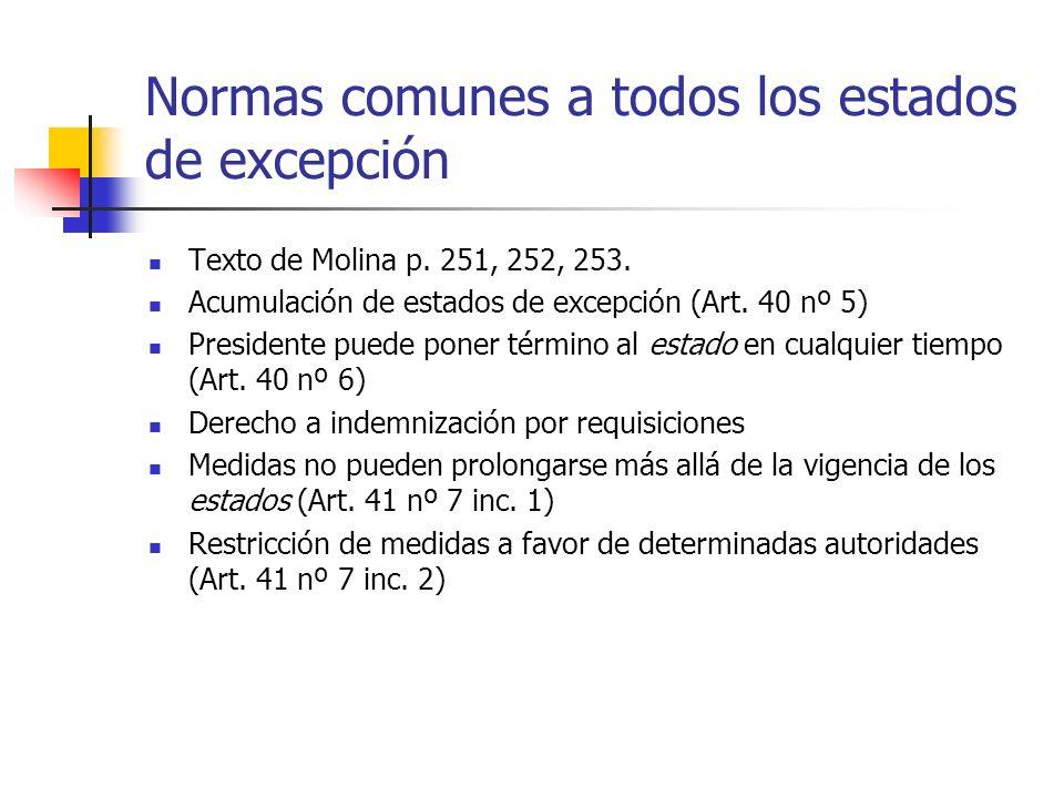 Normas comunes a todos los estados de excepción