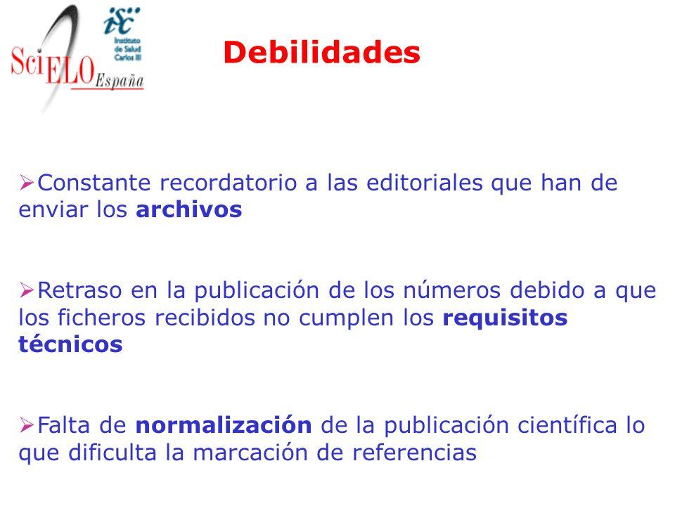 Debilidades Constante recordatorio a las editoriales que han de enviar los archivos.