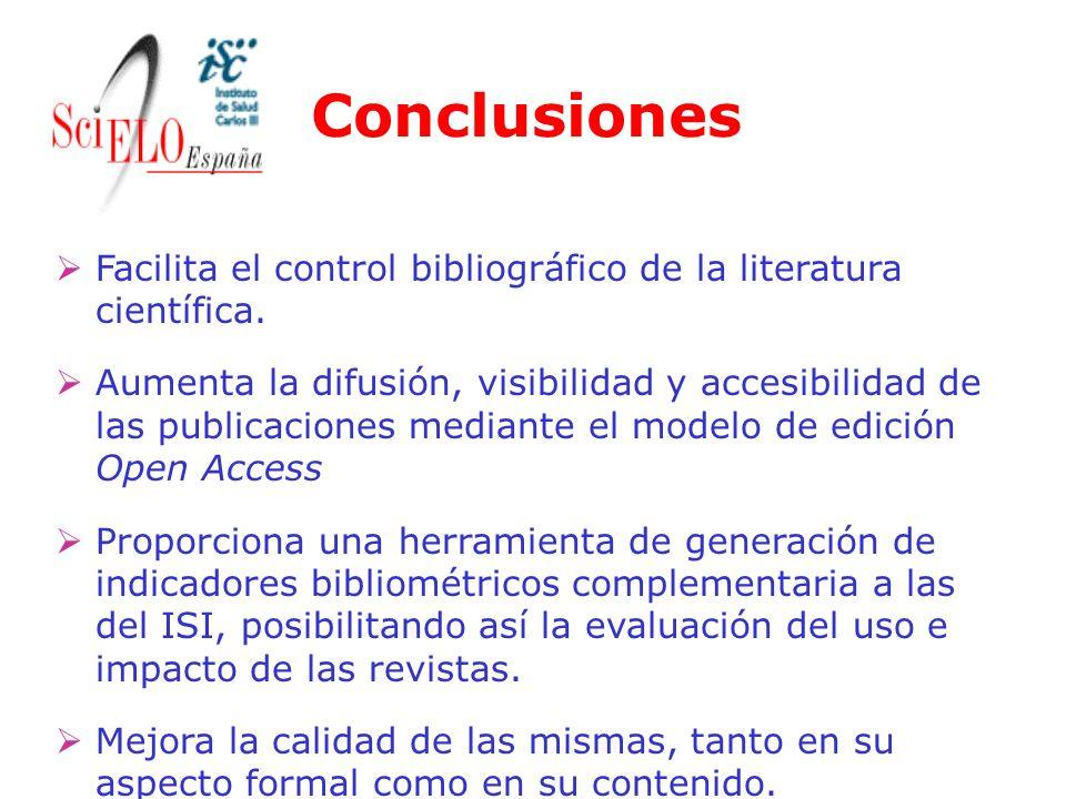 Conclusiones Facilita el control bibliográfico de la literatura científica.