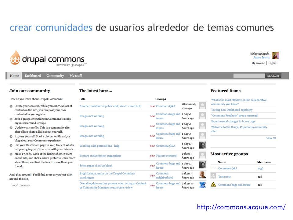 crear comunidades de usuarios alrededor de temas comunes