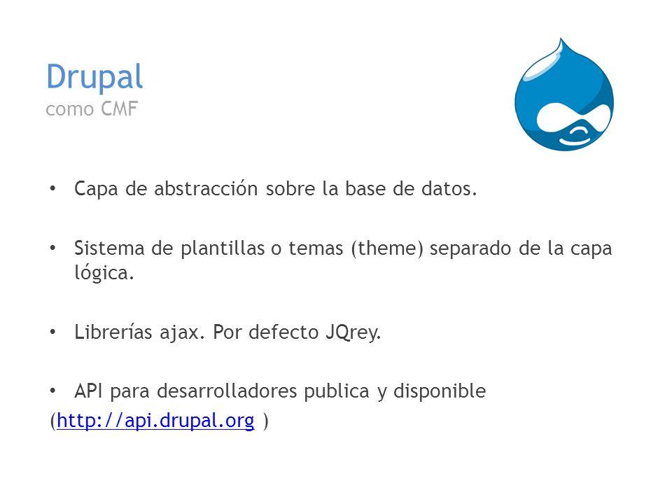 Drupal como CMF Capa de abstracción sobre la base de datos.
