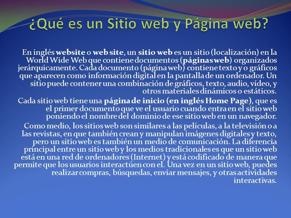 ¿Qué es un Sitio web y Página web