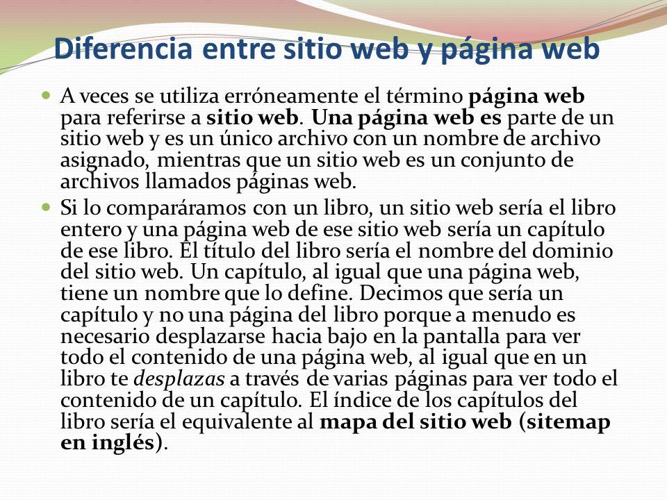 Diferencia entre sitio web y página web