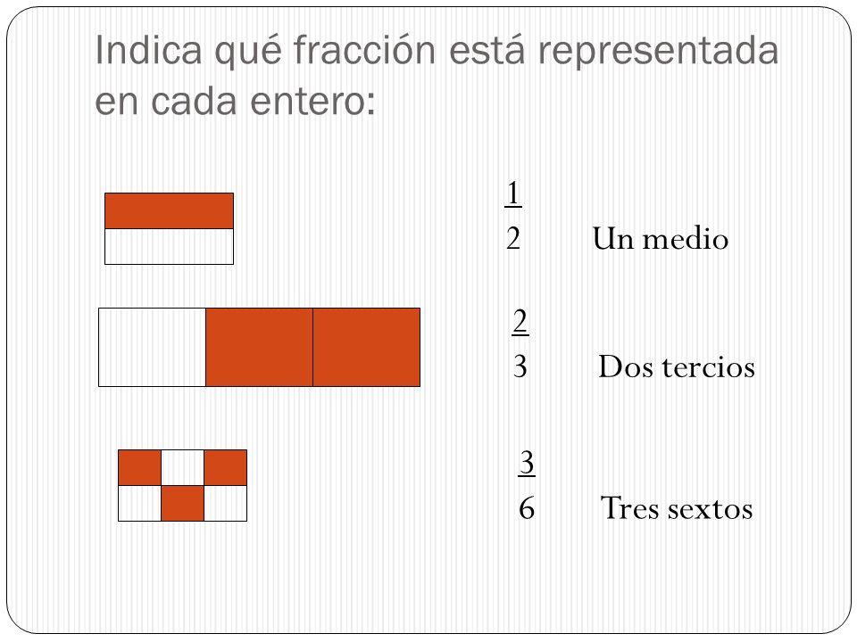 Indica qué fracción está representada en cada entero: