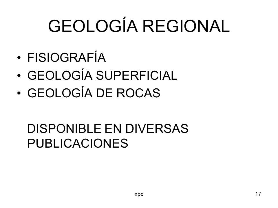 GEOLOGÍA REGIONAL FISIOGRAFÍA GEOLOGÍA SUPERFICIAL GEOLOGÍA DE ROCAS