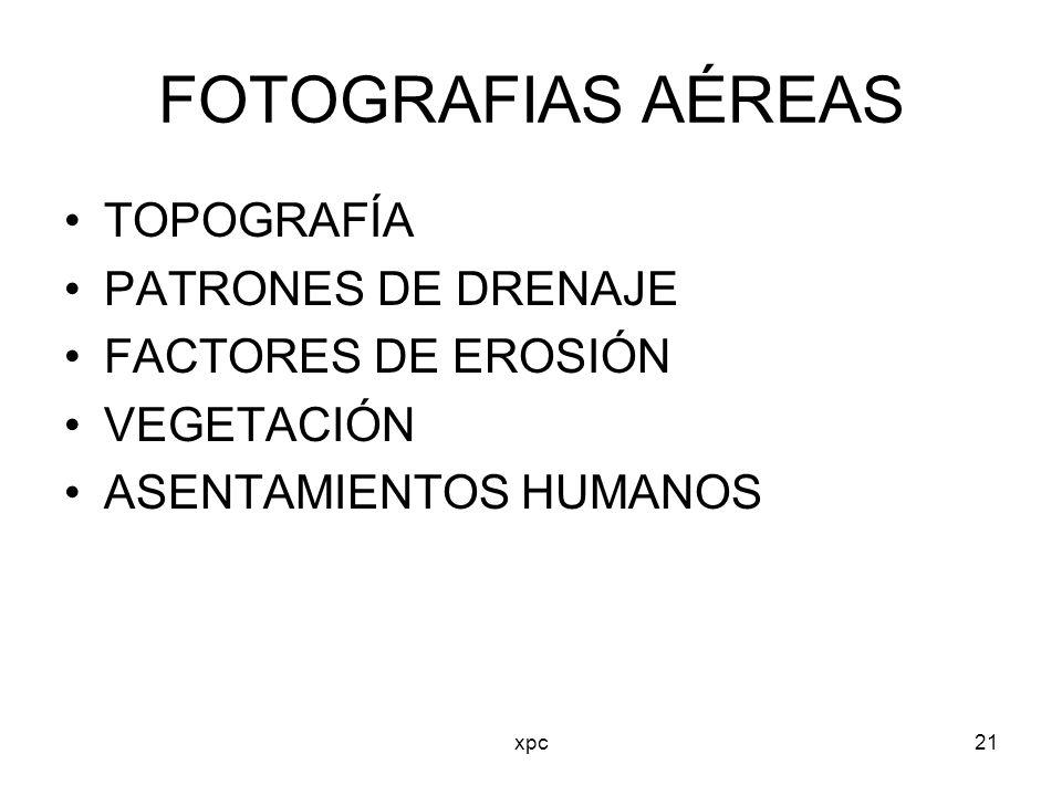 FOTOGRAFIAS AÉREAS TOPOGRAFÍA PATRONES DE DRENAJE FACTORES DE EROSIÓN
