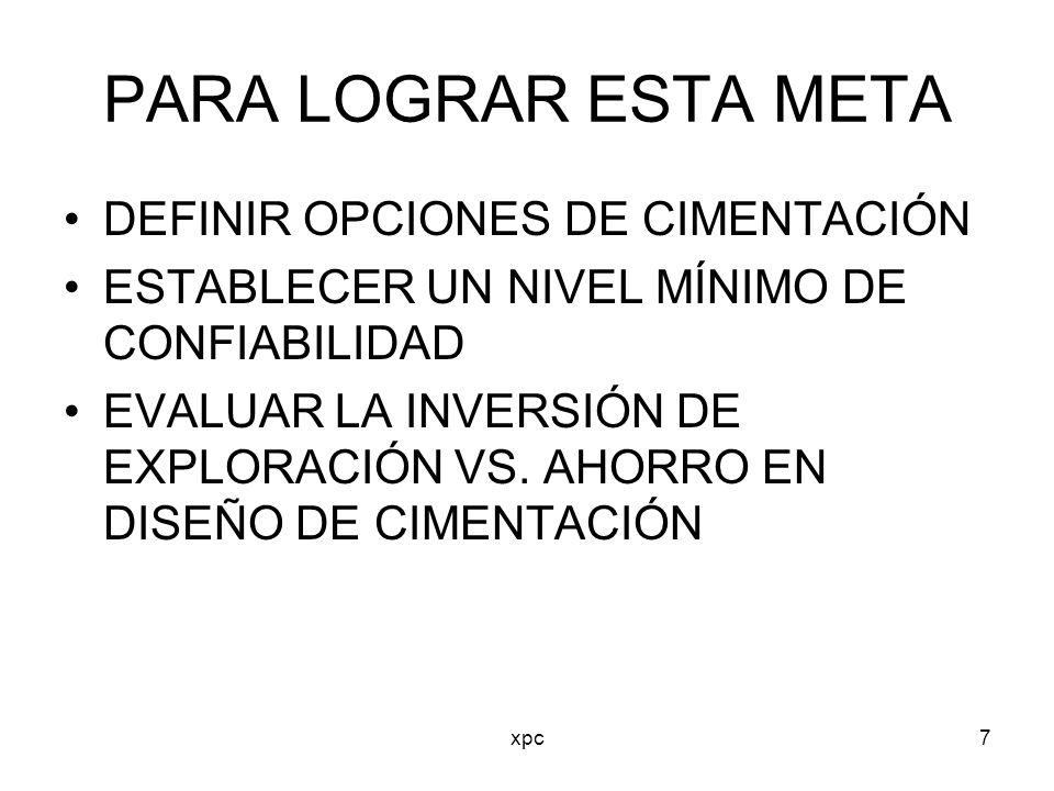 PARA LOGRAR ESTA META DEFINIR OPCIONES DE CIMENTACIÓN