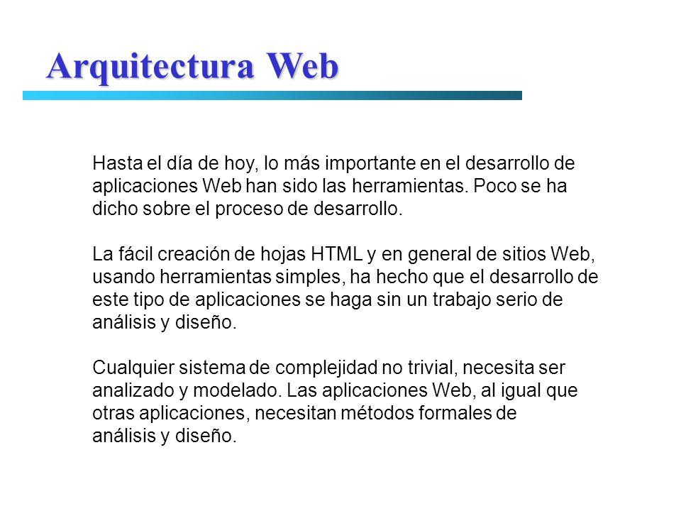 Arquitectura Web Hasta el día de hoy, lo más importante en el desarrollo de. aplicaciones Web han sido las herramientas. Poco se ha.