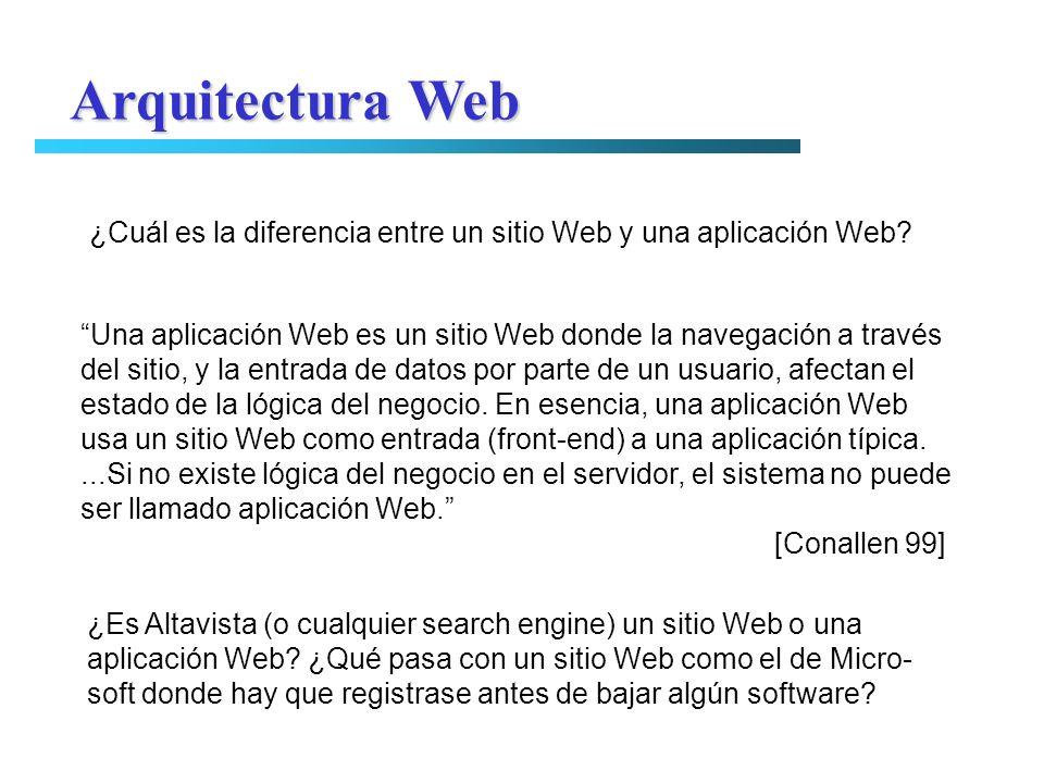 Arquitectura Web ¿Cuál es la diferencia entre un sitio Web y una aplicación Web Una aplicación Web es un sitio Web donde la navegación a través.