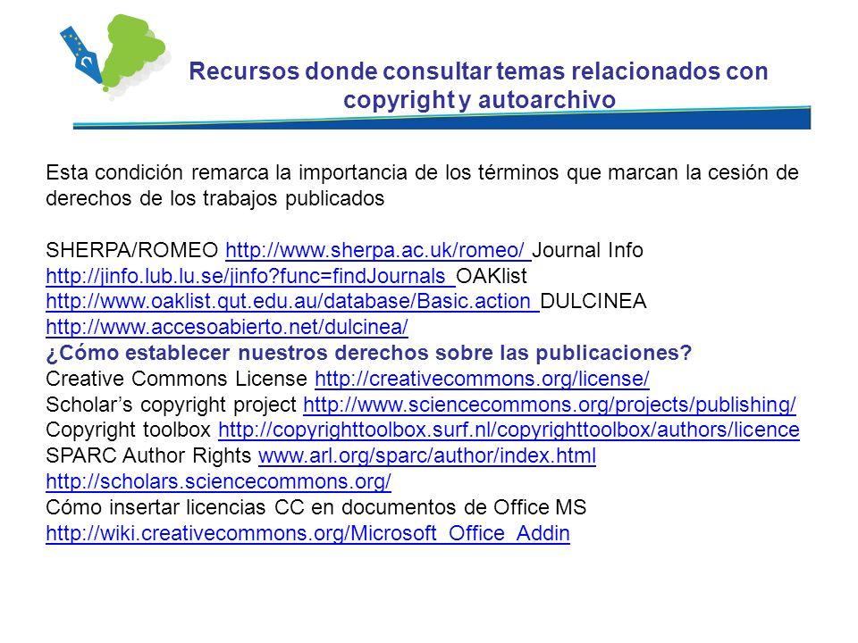 Recursos donde consultar temas relacionados con copyright y autoarchivo