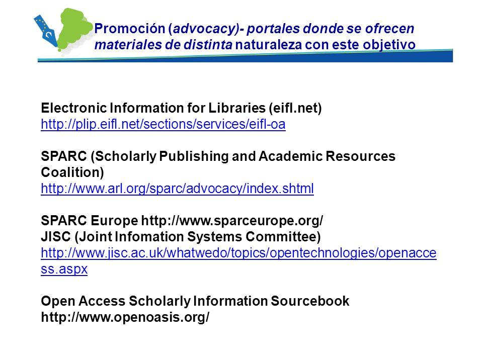 Promoción (advocacy)- portales donde se ofrecen materiales de distinta naturaleza con este objetivo