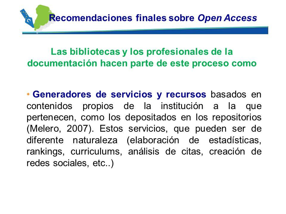 Recomendaciones finales sobre Open Access