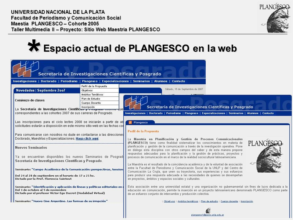 * Espacio actual de PLANGESCO en la web