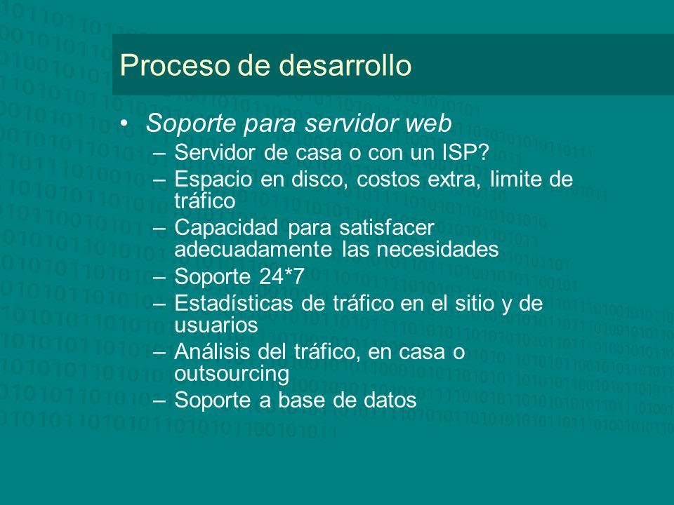 Proceso de desarrollo Soporte para servidor web