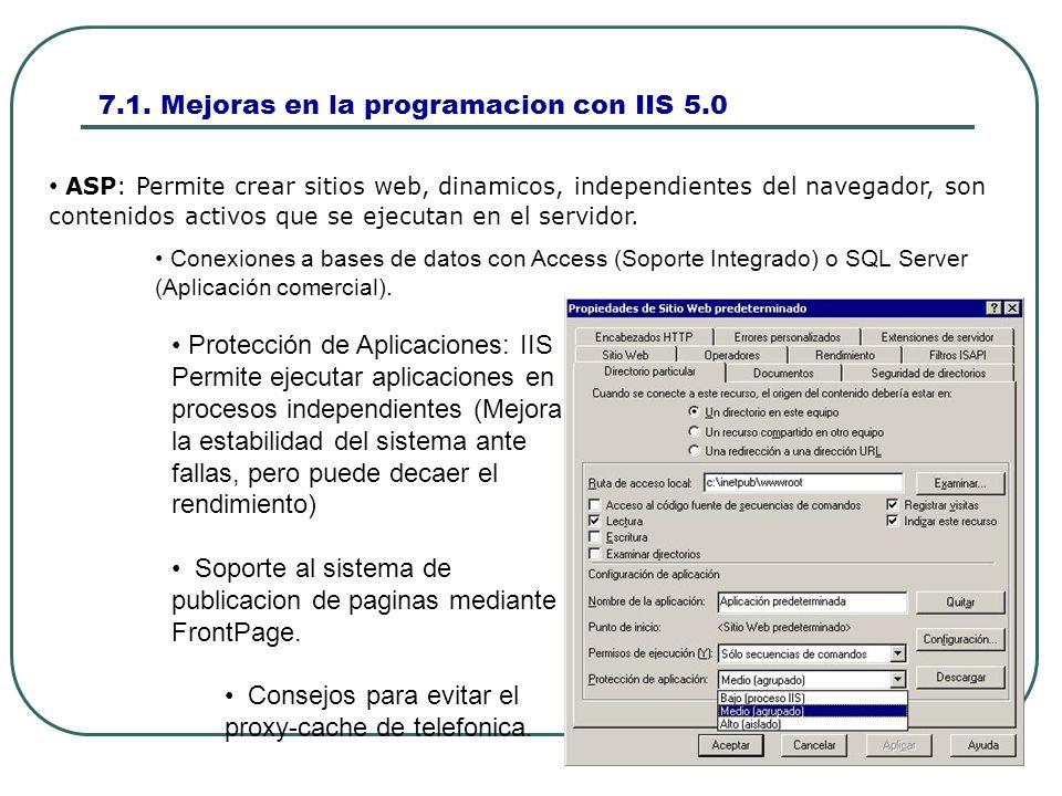 7.1. Mejoras en la programacion con IIS 5.0