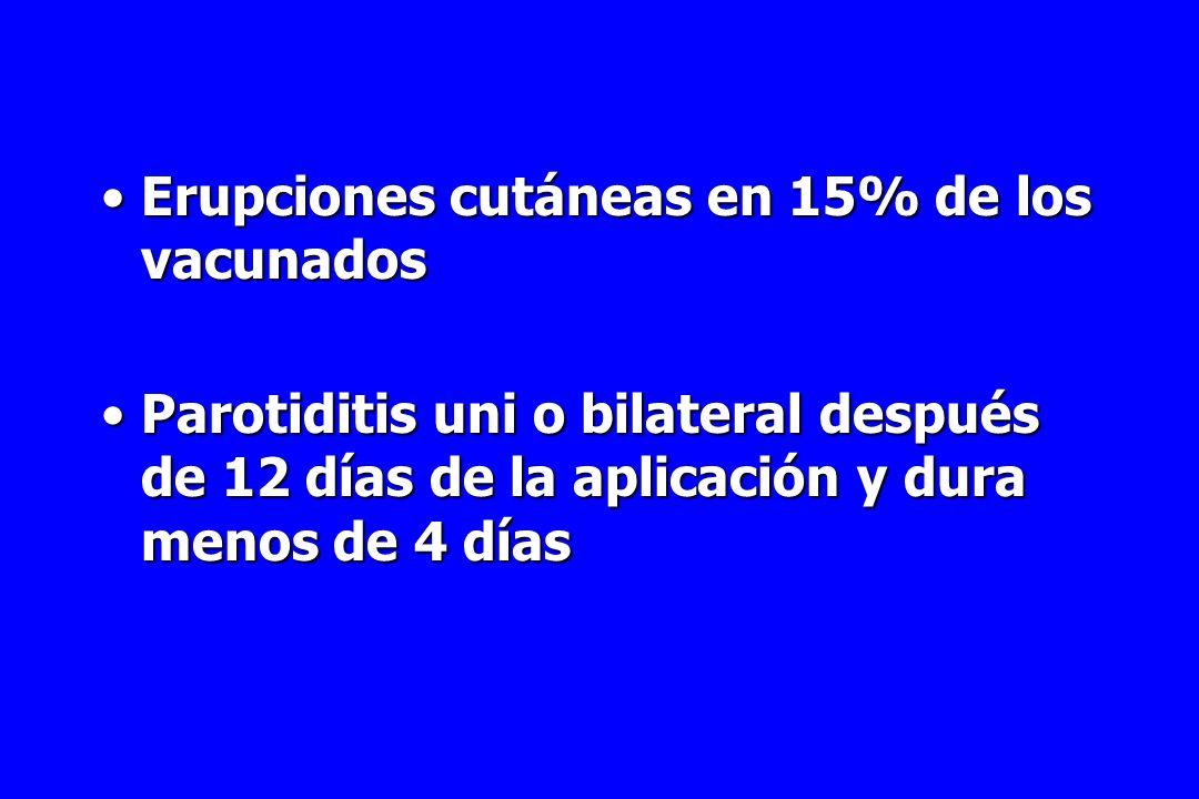 Erupciones cutáneas en 15% de los vacunados