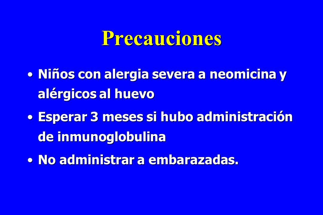 Precauciones Niños con alergia severa a neomicina y alérgicos al huevo