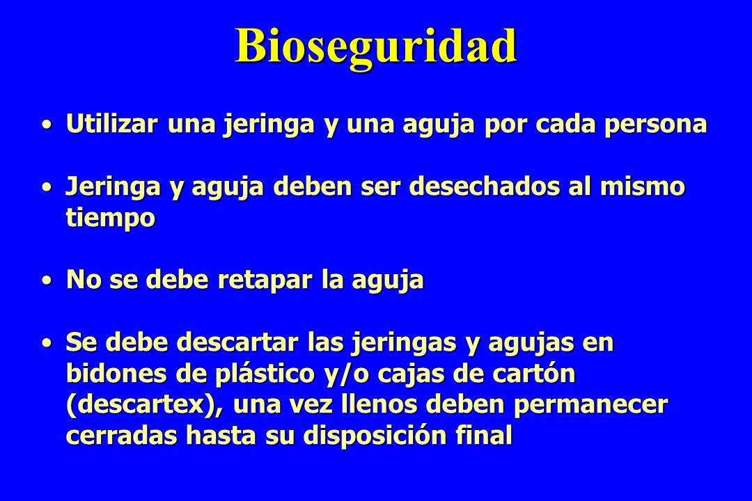 Bioseguridad Utilizar una jeringa y una aguja por cada persona