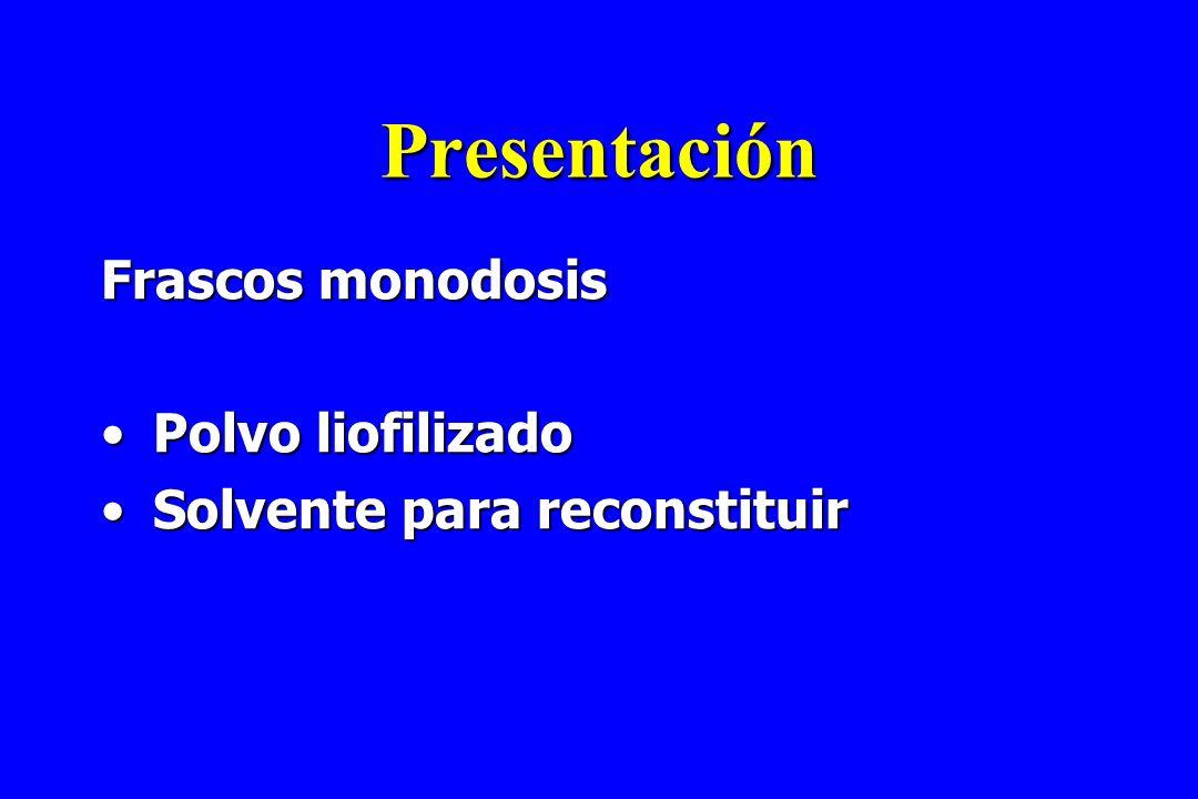 Presentación Frascos monodosis Polvo liofilizado