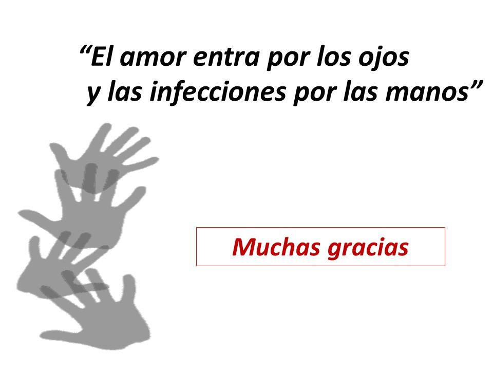 El amor entra por los ojos y las infecciones por las manos