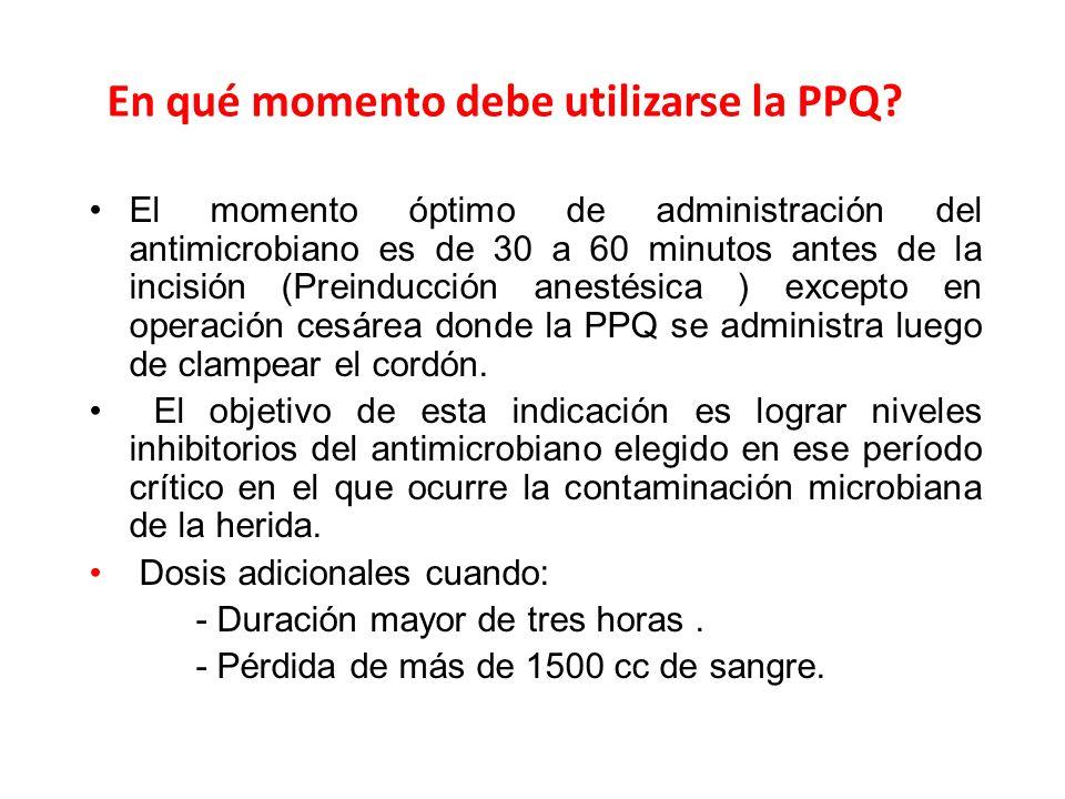En qué momento debe utilizarse la PPQ