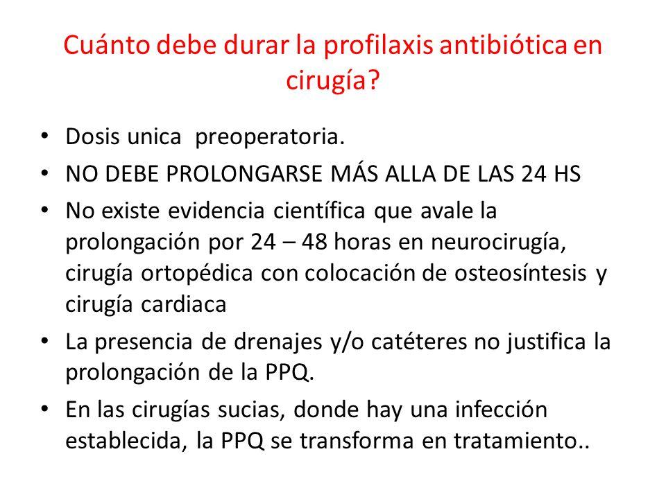 Cuánto debe durar la profilaxis antibiótica en cirugía